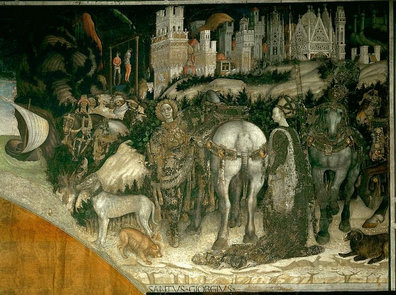 St George and the Princess of Trebizond, 1422-38,. Antonio Pisanello