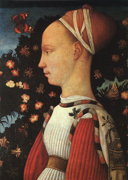 Portrait of Ginerva dEste, 1438, panel painting,. Antonio Pisanello