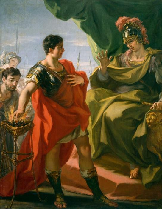 Gaius Mucius Scaevola before Porsena. Giovanni Antonio Pellegrini