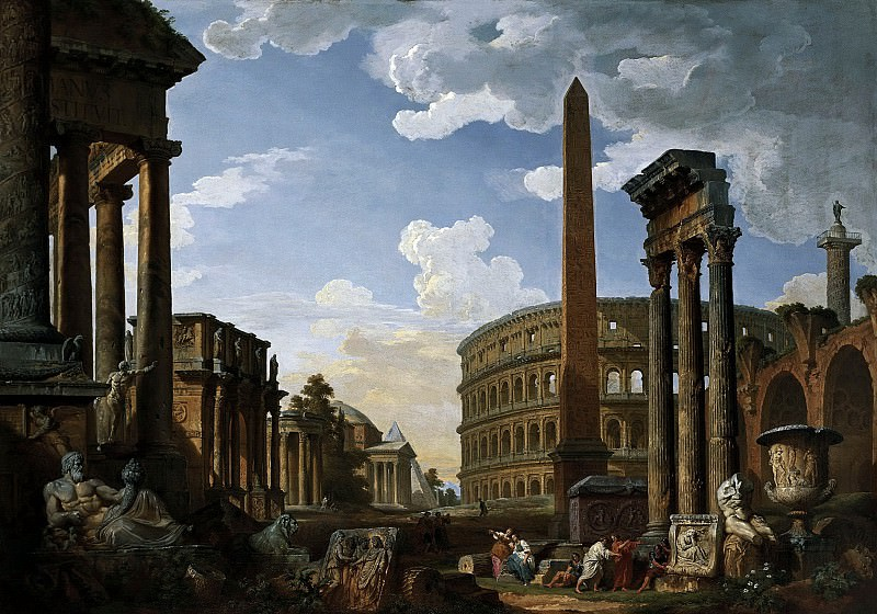 Capriccio with important monuments of ancient Rome. Giovanni Paolo Panini