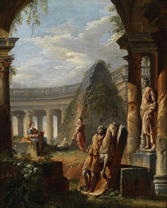capriccios of classical ruins with Pyramid of Cestius. Giovanni Paolo Panini