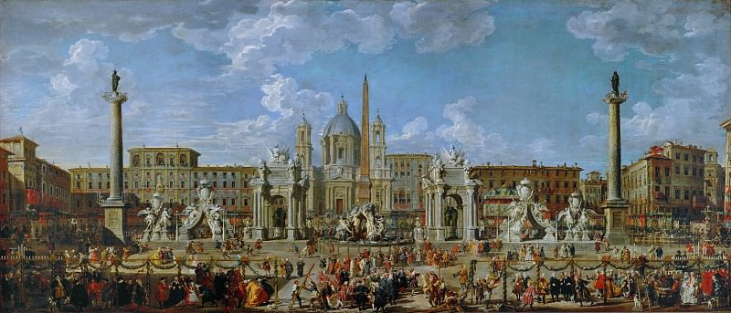 Preparations for fireworks and decoration for the festival given in honor of the birth of Louis, the Dauphin of France, in the Piazza Navona. Giovanni Paolo Panini