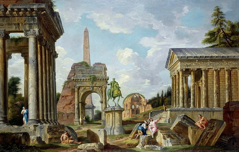 An architectural capriccio with the Temple of Saturn, the Arch of Titus, the Temple of Minerva Medica and the Temple of Fortuna Virilis. Giovanni Paolo Panini