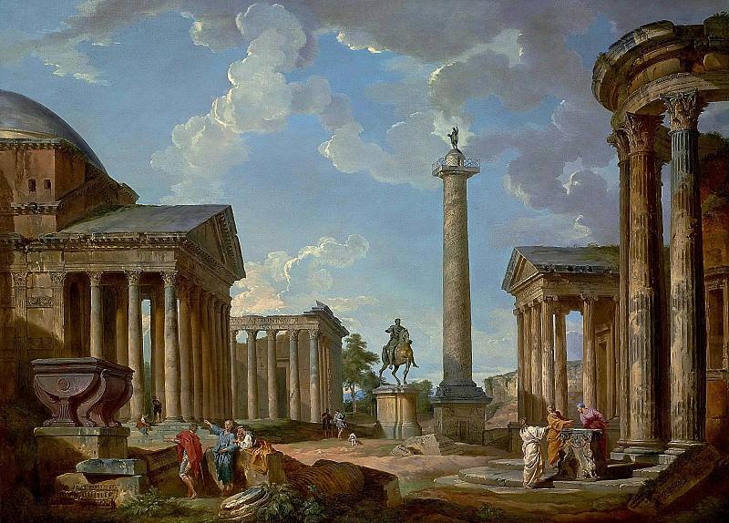Каприччо с Пантеоном, храмом Антонина и Фаустины, статуей Марка Аврелия, колонной Траяна, храмом Портуна и храмом Весты. Джованни Паоло Панини