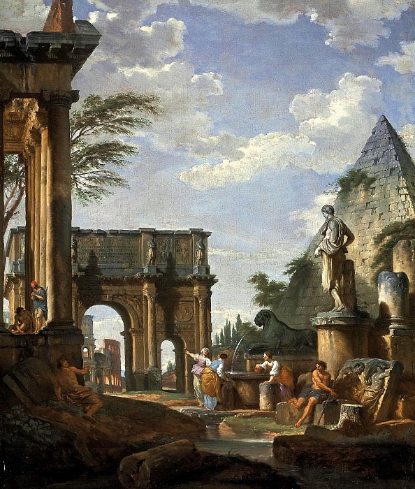 A capriccio of the Roman forum, with the Arch of Constantine, the Pyramid of Cestius and the Colosseum beyond, figures by a fountain in the foreground, 1737. Giovanni Paolo Panini