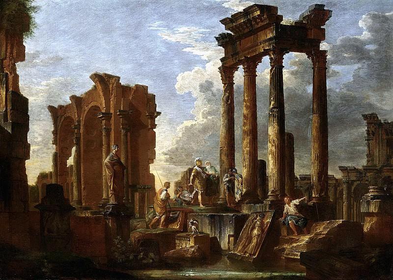 Каприччо с фигурами среди римских руин. Джованни Паоло Панини