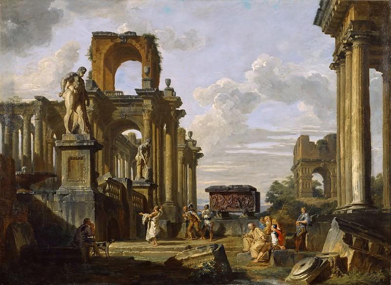 Каприччо с римским форумом с философом и солдатами. Giovanni Paolo Panini