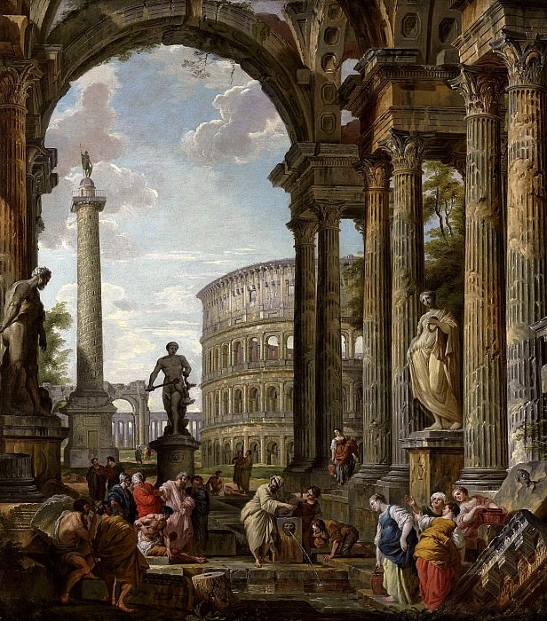 An architectural capriccio with the philosopher Diogenes and other figures by a fountain beneath a portico with the Colosseum, the column of Trajan, Hercules and the Hydra, the Farnese Hercules, and. Giovanni Paolo Panini