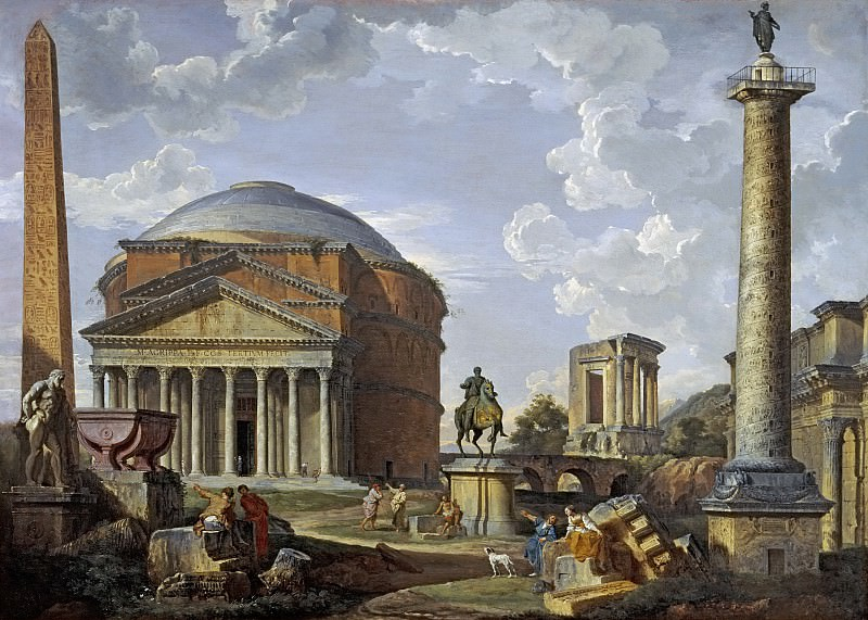 Landscape with the Pantheon and other Monuments of Ancient Rome. Giovanni Paolo Panini