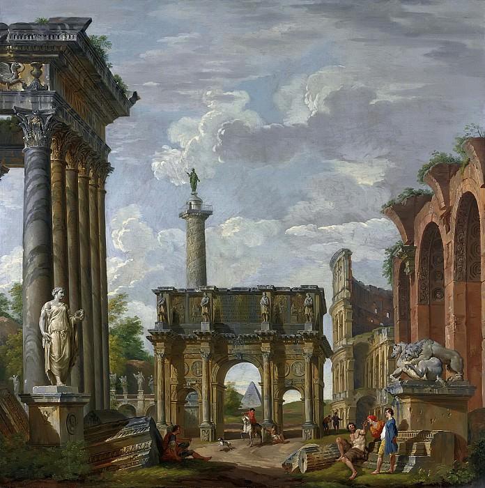 Каприччо с аркой Константина, колизеем, базиликой Максенция, храмом Антонина и Фаустины, колонной Траяна и мостом св Ангела. Giovanni Paolo Panini