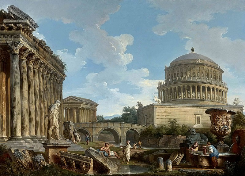 A CAPRICCIO OF HADRIAN S MAUSOLEUM, THE TEMPLE OF FORTUNA VIRILIS, THE MILVIAN BRIDGE ANDTHE BASILICA OF ANTONINUS WITH THE FARNESE HERCULES, THE MEDICI VASE. Giovanni Paolo Panini