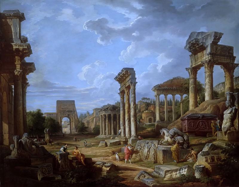 A Capriccio of the Roman Forum. Giovanni Paolo Panini