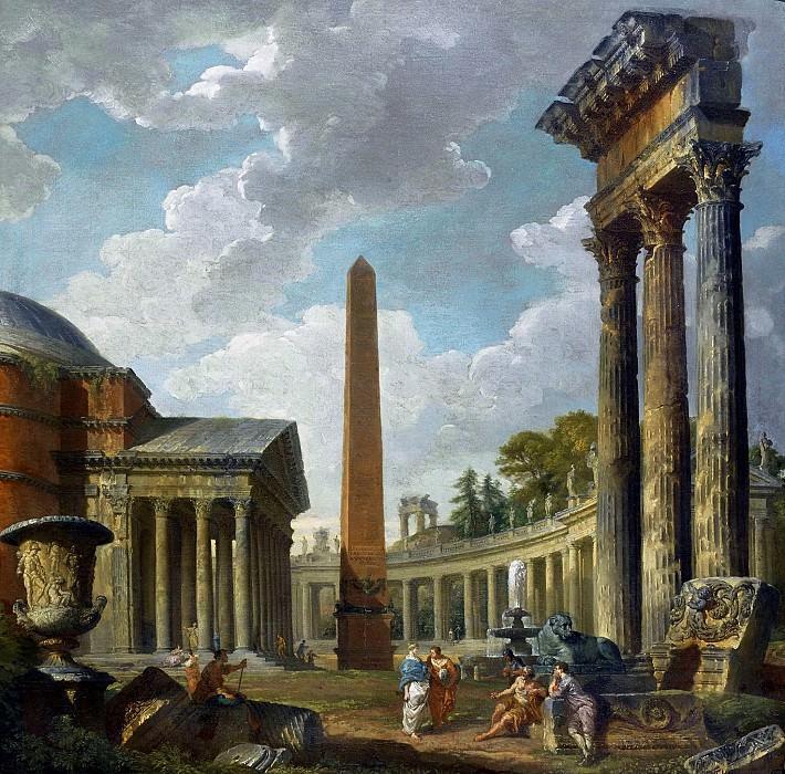 Caprice architectural avec le Pantheon, le portique San Pietro et les trois colonnes de Dioscuri. Giovanni Paolo Panini