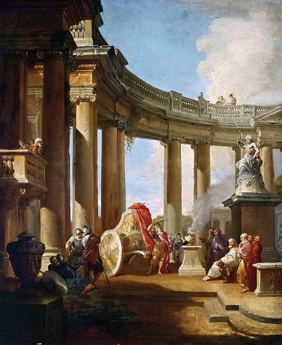 Alexander cuts the Gordian knot. Giovanni Paolo Panini