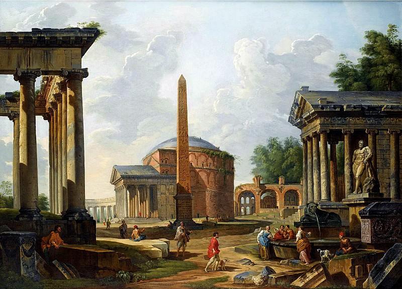 Каприччо с Пантеоном, храмами Сатурна и Портуна, базиликой Максенция и обелиском Августа. Джованни Паоло Панини