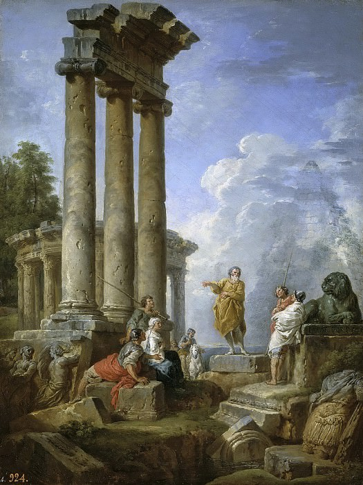 Ruins with St Paul Preaching. Giovanni Paolo Panini