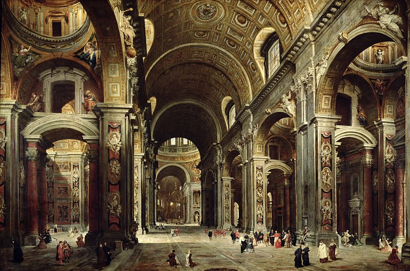 Cardinal Melchior de Polignac Visiting St Peters in Rome, 1730. Giovanni Paolo Panini