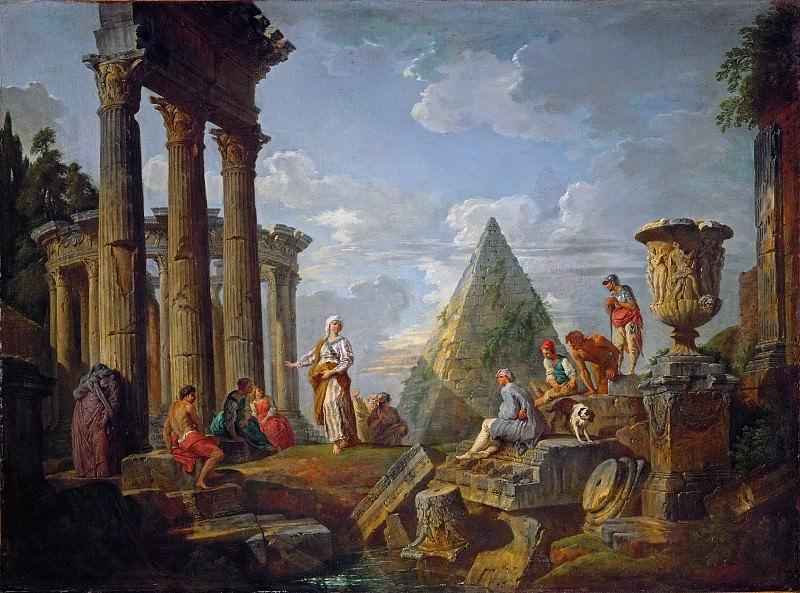 A sibyl preaching in the ruins. Giovanni Paolo Panini