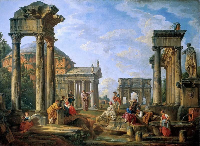 Sermon among Roman ruins. Giovanni Paolo Panini