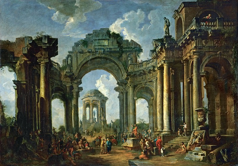 Sermon of an Apostle in the ruins of an architecture in Doric style. Giovanni Paolo Panini