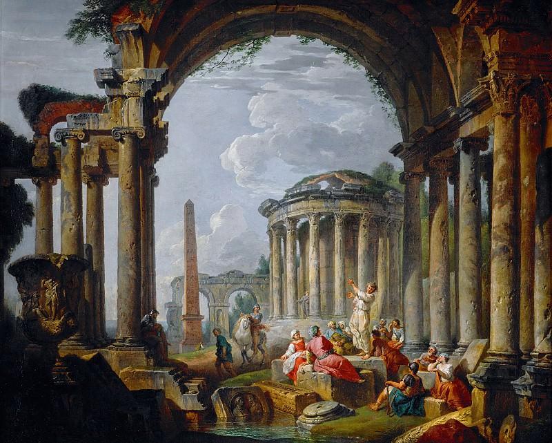 A Preacher in the ancient ruins. Giovanni Paolo Panini
