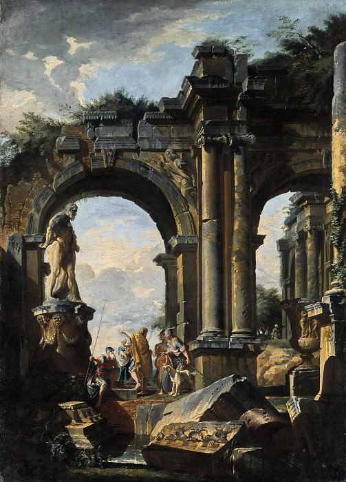 Phantasielandschaft mit romischen Ruinen, 1735. Giovanni Paolo Panini