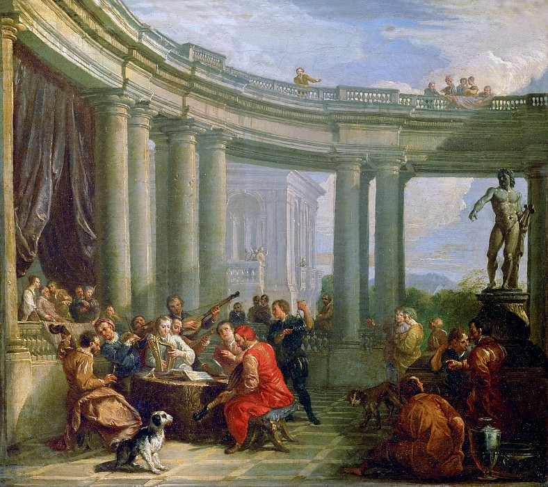 A concert in the circular colonnade of Doric style. Giovanni Paolo Panini