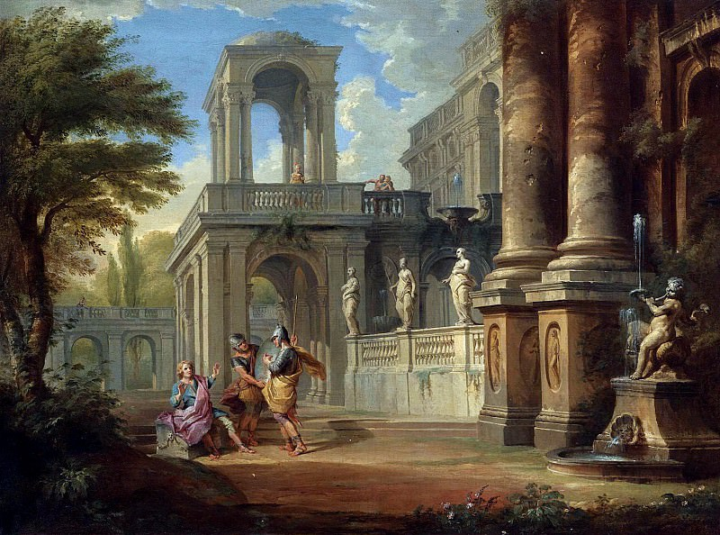 AN ARCHITECTURAL CAPRICCIO WITH TWO SOLDIERS ADDRESSING A YOUNG MAN, FIGURES ON A BALCONY BEYOND. Giovanni Paolo Panini