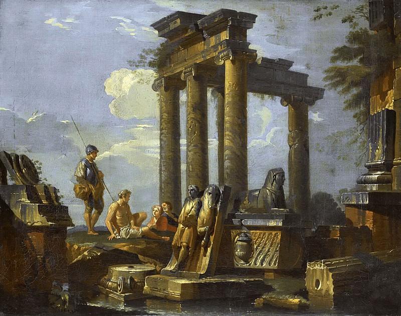 Каприччо с саркофагом, руинами храма и фигурами среди них. Giovanni Paolo Panini