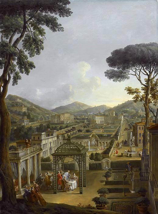 Пейзаж с виллой и художником с фигурами, обедающими под перголой. Giovanni Paolo Panini