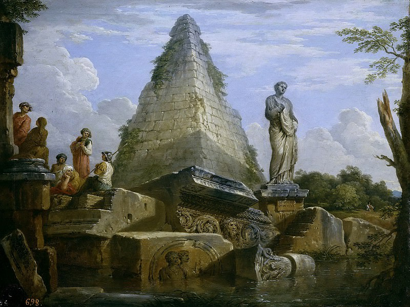 Ruins with the pyramid of Caius Cestius. Giovanni Paolo Panini