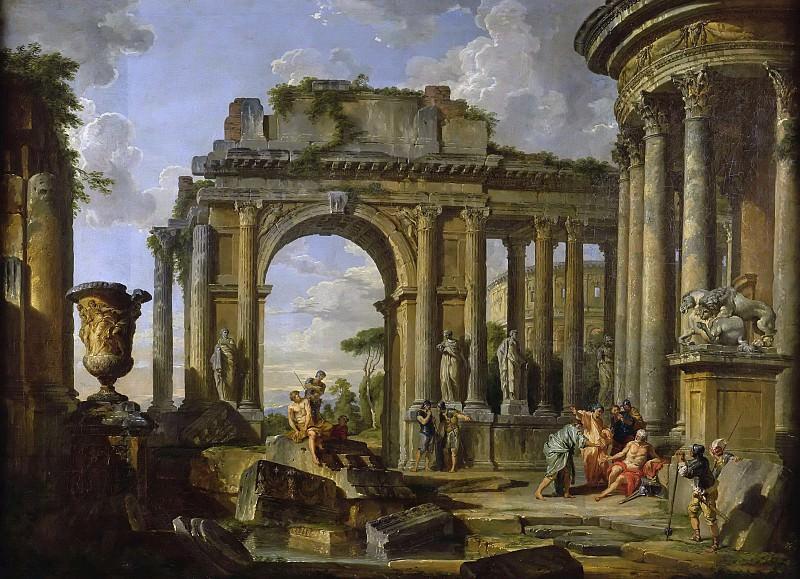Велизарий, просящий милостыню среди римских руин. Giovanni Paolo Panini