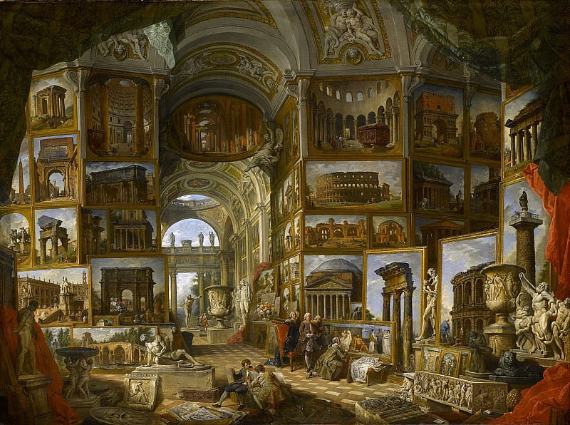Gallery with views of famous, ancient buildings and sculptures. Giovanni Paolo Panini
