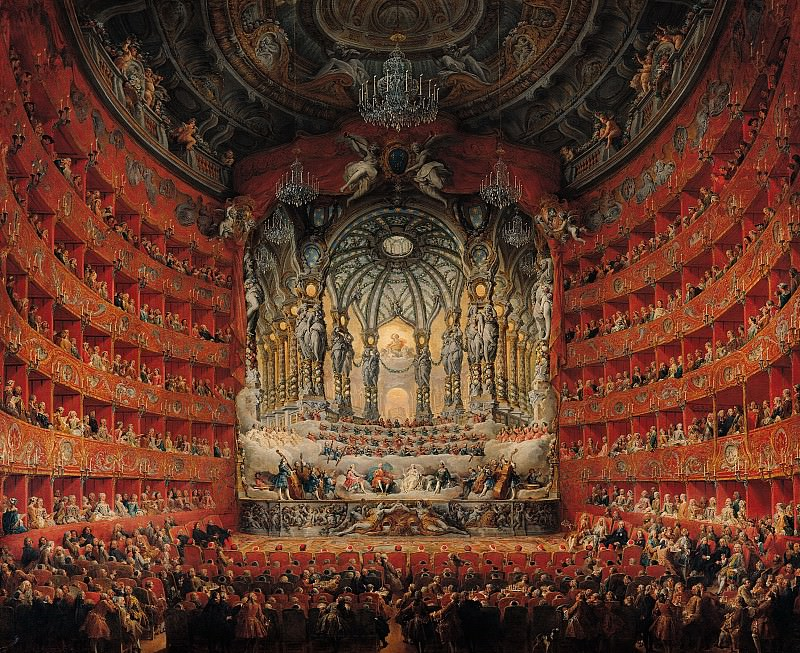 Concert given by Cardinal de La Rochefoucauld at the Argentina Theatre in Rome, 1747. Giovanni Paolo Panini
