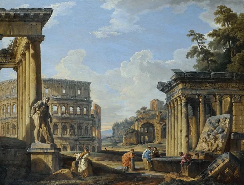 Каприччо с храмом Антонина и Фаустины, колизеем, базиликой Максенция и храмом Венеры. Giovanni Paolo Panini