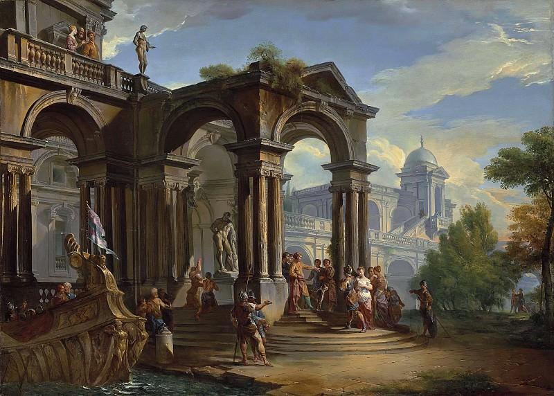 Каприччо с фигурами у входа во дворец. Giovanni Paolo Panini
