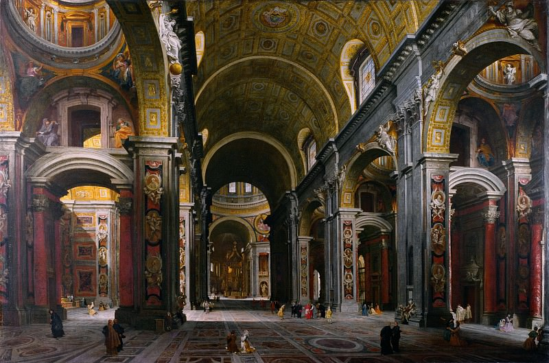 Rome - The Interior of St Peter's, 1742. Giovanni Paolo Panini