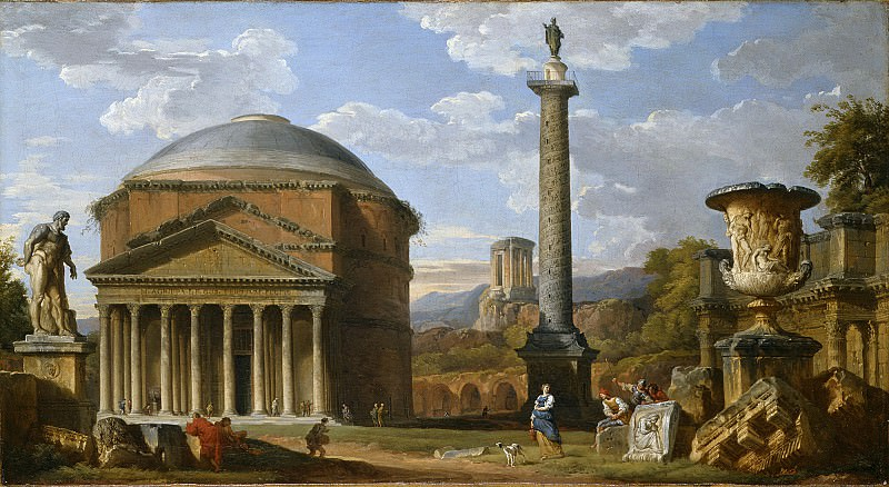 Capriccio of Roman Ruins with the Pantheon. Giovanni Paolo Panini