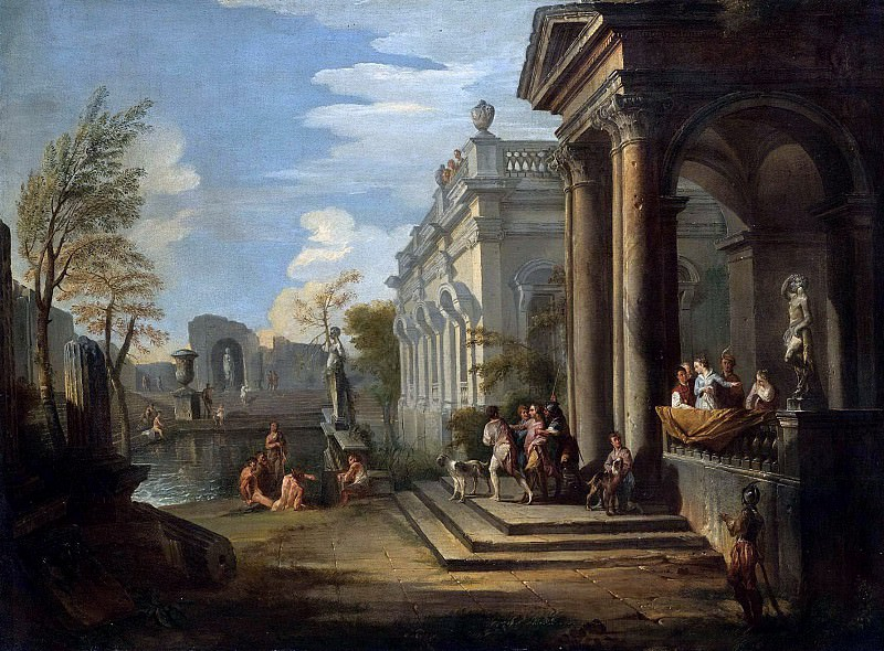 AN ARCHITECTURAL CAPRICCIO WITH FIGURES AT A BALCONY AND BATHERS IN A POOL NEARBY. Giovanni Paolo Panini