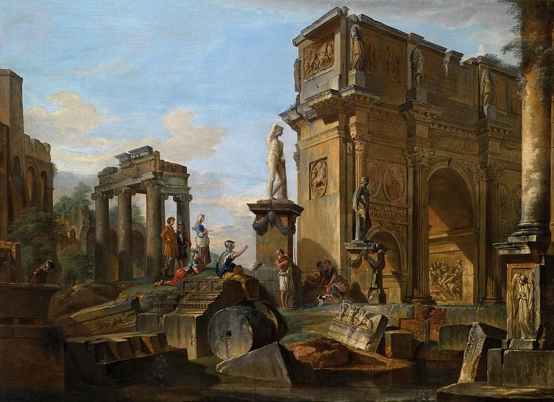 Capriccio with Roman ruins and the Arch of Constantine. Giovanni Paolo Panini