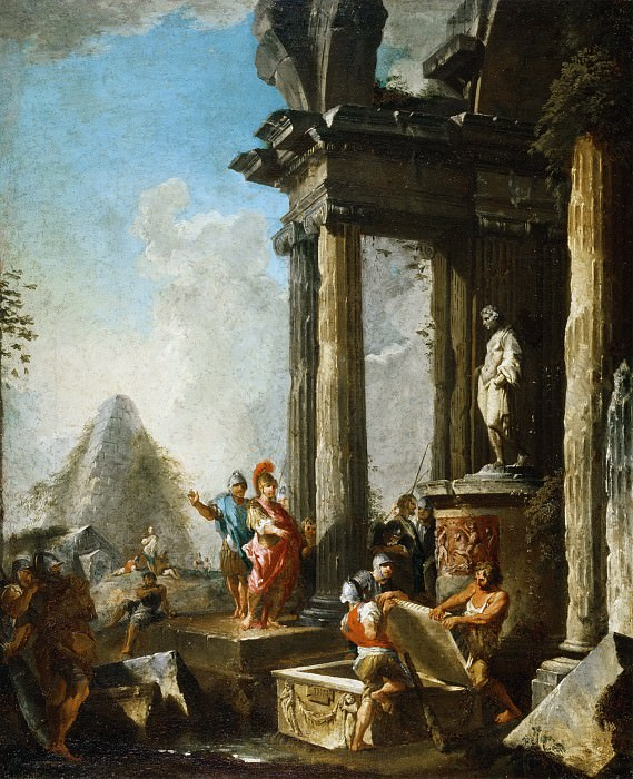 Alexander the Great at the Tomb of Achilles. Giovanni Paolo Panini