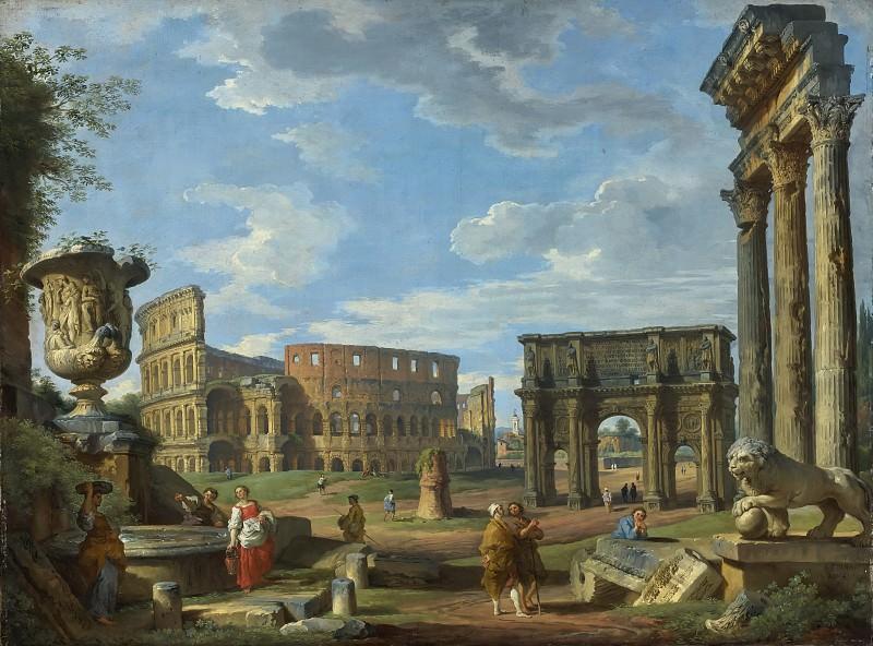 Каприччо с колизеем, аркой Константина и другими древнеримскими монументами. Giovanni Paolo Panini