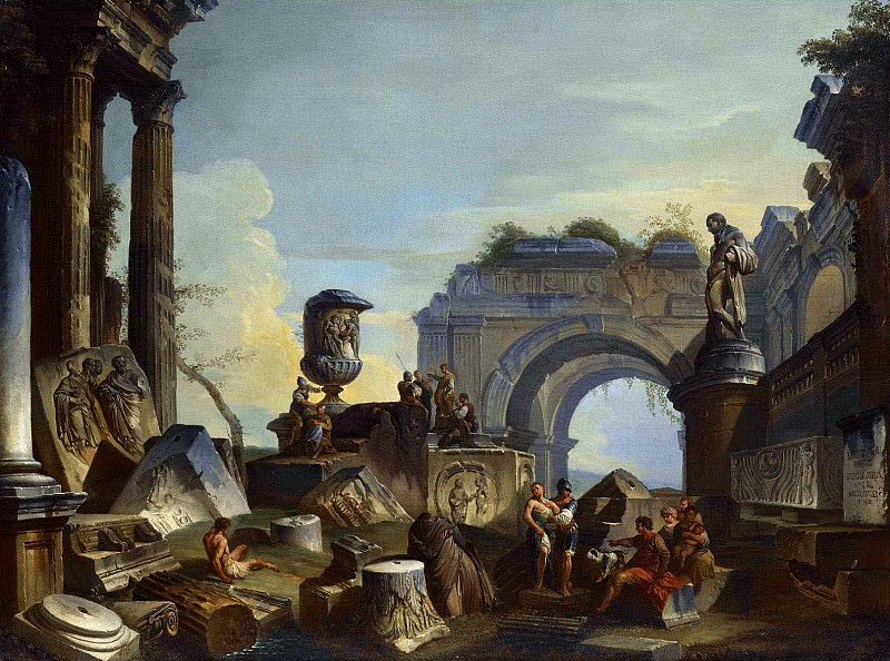 AN ARCHITECTURAL CAPRICCIO WITH FIGURES AMONGST ANCIENT RUINS. Giovanni Paolo Panini