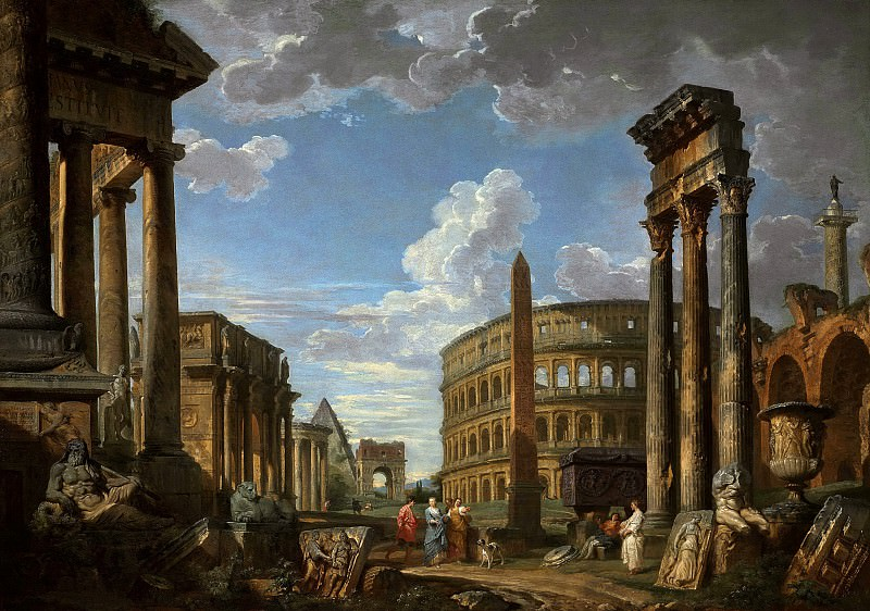 An architectural capriccio with figures among Roman ruins including the the Temple of Saturn, Arch of Constantine, Temple of Vesta, Arch of Drusus, the Colosseum, Temple of Castor and Pollux, Basilica of Maxen. Giovanni Paolo Panini