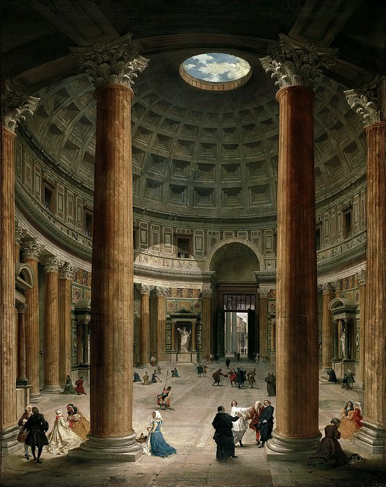 Interior of the Pantheon, Rome. Giovanni Paolo Panini