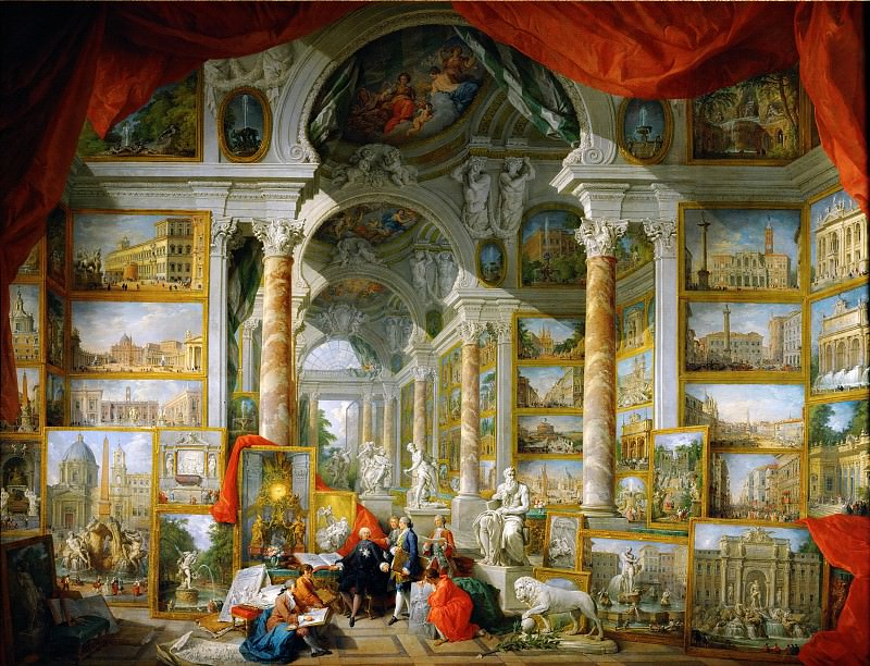 Gallery with views of modern Rome. Giovanni Paolo Panini
