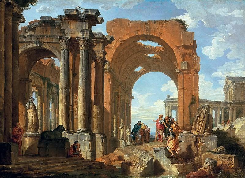 Architectural Capriccio with Figures discoursing among Roman Ruins. Giovanni Paolo Panini