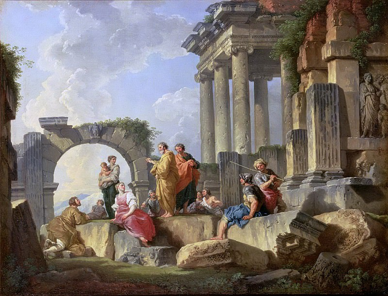 Ruins with the Apostle Paul preaching. Giovanni Paolo Panini