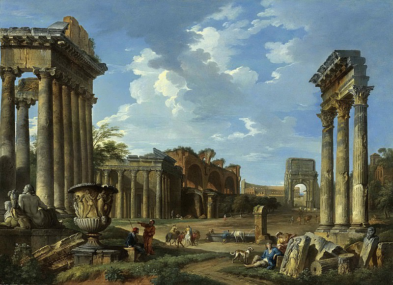 A VIEW OF THE CAMPO VACCINO WITH THE TEMPLE OF JUPITER STATOR, THE ARCH OF TITUS, THE COLOSSEUM, THE BASILICA OF MAXENTIUS, THE TEMPLE OF ANTONINUS AND FAUSTINA AND THE TEMPLE OF CONCORD WITH THE BORGHESE VASE. Giovanni Paolo Panini