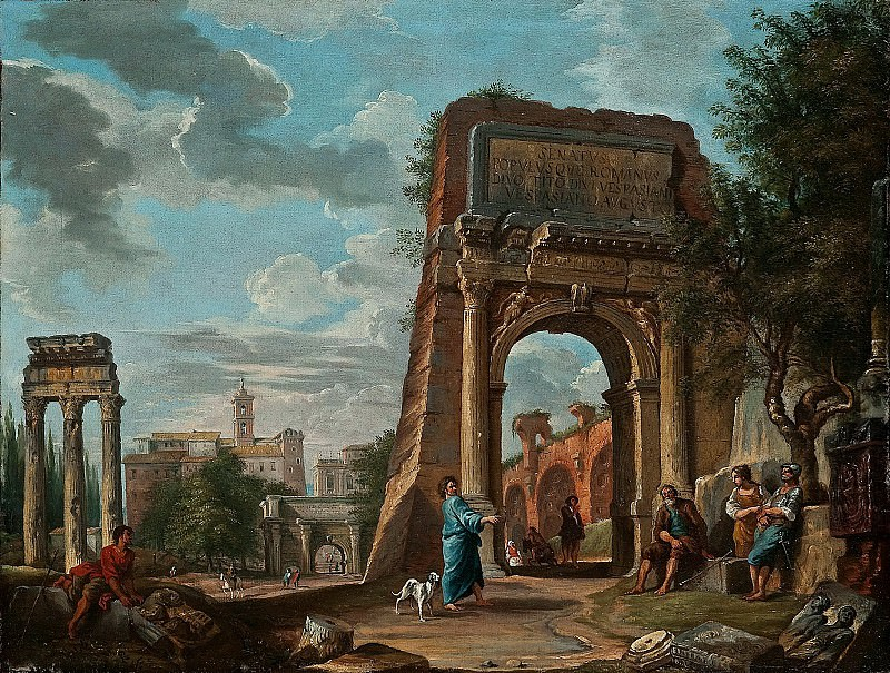 The Roman Forum with the Arch of Titus, with figures and the Capitoline Hill in the background. Giovanni Paolo Panini